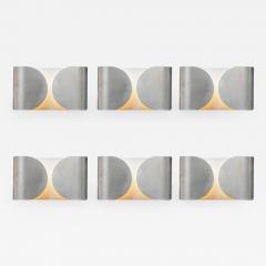 Set of Six Waved Metal Wall Sconces - 716586