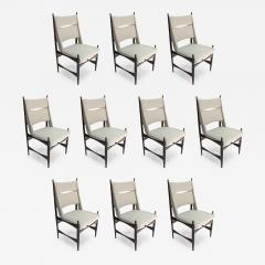 Set of Ten 1960s Brazilian Dining Chairs in Beige Linen - 985865
