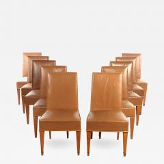 Set of Ten French 1940s Leather Upholstered Dining Chairs - 496083
