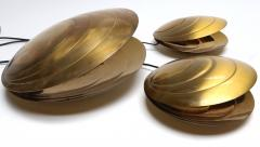 Set of Three Brass Clam Shell Table Lamps - 307395