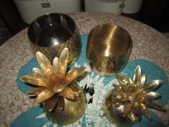 Set of Three Brass Pineapples Ice Bucket or Trinket Boxes Mid Century Modern - 1570665