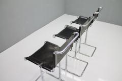 Set of Three Italian Bar Stools in Steel Tube and Black Leather 1970s - 1300503