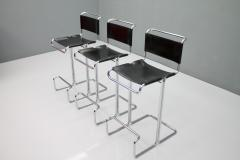 Set of Three Italian Bar Stools in Steel Tube and Black Leather 1970s - 1300509