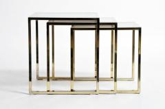 Set of Three Italian Brass and Glass Nesting Tables - 1194149