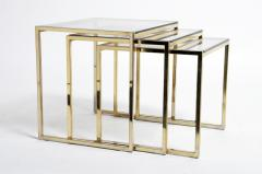 Set of Three Italian Brass and Glass Nesting Tables - 1194153