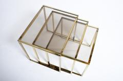 Set of Three Italian Brass and Glass Nesting Tables - 1194154