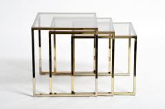 Set of Three Italian Brass and Glass Nesting Tables - 1194156