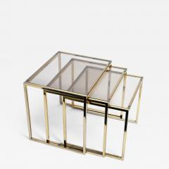 Set of Three Italian Brass and Glass Nesting Tables - 1195203