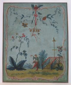 Set of Three Louis XV Painted Chinoiserie Canvas Panels - 1899523