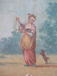 Set of Three Louis XV Painted Chinoiserie Canvas Panels - 1899527