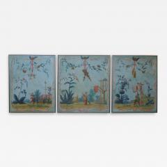 Set of Three Louis XV Painted Chinoiserie Canvas Panels - 1911898