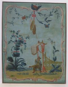 Set of Three Louis XV Painted Chinoiserie Canvas Panels - 1912711
