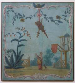 Set of Three Louis XV Painted Chinoiserie Canvas Panels - 1912712