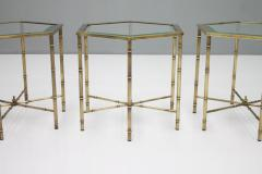 Set of Three Octagonal Side Table in Brass and Glass 1970s - 1167600