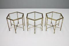 Set of Three Octagonal Side Table in Brass and Glass 1970s - 1167602