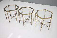 Set of Three Octagonal Side Table in Brass and Glass 1970s - 1167603
