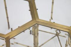 Set of Three Octagonal Side Table in Brass and Glass 1970s - 1167606