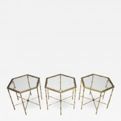 Set of Three Octagonal Side Table in Brass and Glass 1970s - 1168532