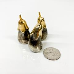 Set of Three Salt Shakers in the Shape of an Eggplant Silver plated Brass - 1947690