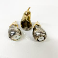 Set of Three Salt Shakers in the Shape of an Eggplant Silver plated Brass - 1947692