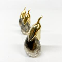 Set of Three Salt Shakers in the Shape of an Eggplant Silver plated Brass - 1947697