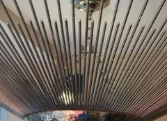Set of Three Sunburst Nickel Plated Light Fixtures - 657379