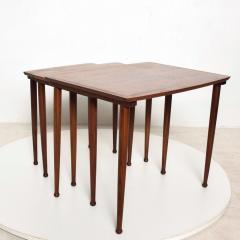 Set of Three Teak Nesting Tables Simple Modern MOBELINTARSIA Denmark 1960s - 2074866
