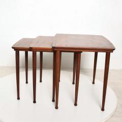 Set of Three Teak Nesting Tables Simple Modern MOBELINTARSIA Denmark 1960s - 2074867