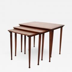 Set of Three Teak Nesting Tables Simple Modern MOBELINTARSIA Denmark 1960s - 2075708