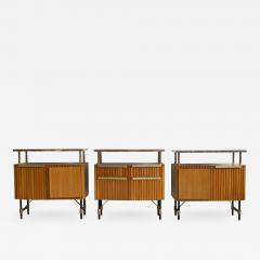 Set of Three Wooden Sideboards with Brass Details and Marble Top - 1412386