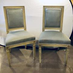 Set of Twelve Jansen Style Faux Linen Paint Decorated New Upholstery - 1240801