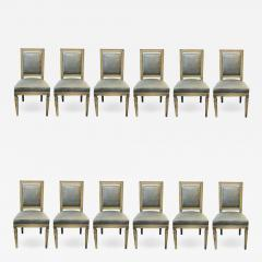 Set of Twelve Jansen Style Faux Linen Paint Decorated New Upholstery - 1242676