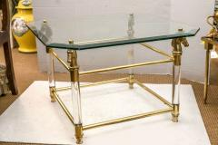 Set of Vintage French Brass and Lucite Horse Head Glass Top Tables - 536107