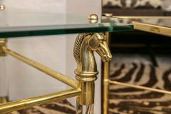 Set of Vintage French Brass and Lucite Horse Head Glass Top Tables - 536108