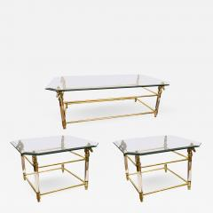 Set of Vintage French Brass and Lucite Horse Head Glass Top Tables - 536406