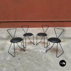 Set of black iron and sky chairs 1980s - 1945564