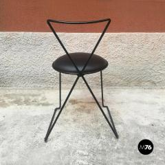 Set of black iron and sky chairs 1980s - 1945565