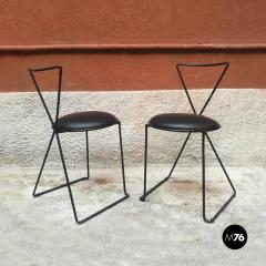 Set of black iron and sky chairs 1980s - 1945566
