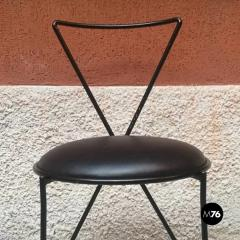 Set of black iron and sky chairs 1980s - 1945573