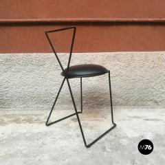 Set of black iron and sky chairs 1980s - 1945574