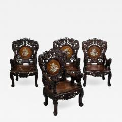 Set of four Indochinese armchairs circa 1930 - 917441