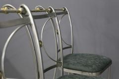 Set of four MidCentury Chair by Banci Firenze Steel and brass 1970s - 1214549