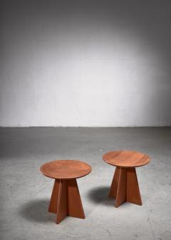 Set of four pine cruciform stools - 1849951