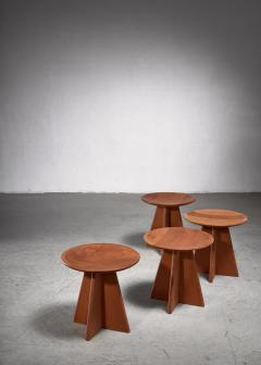 Set of four pine cruciform stools - 1849952
