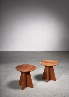 Set of four pine cruciform stools - 1849954