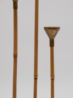 Set of three Bamboo and Brass Candlesticks - 1713619