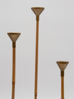 Set of three Bamboo and Brass Candlesticks - 1713621