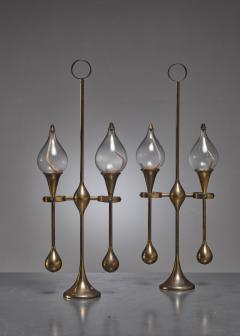 Set of three brass oil lamps or candle holders Denmark - 790527