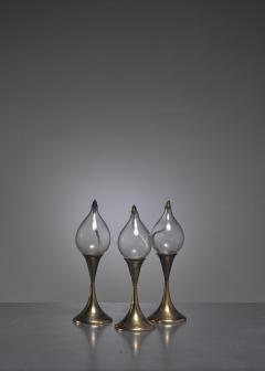 Set of three brass oil lamps or candle holders Denmark - 790528