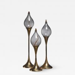 Set of three brass oil lamps or candle holders Denmark - 1655939